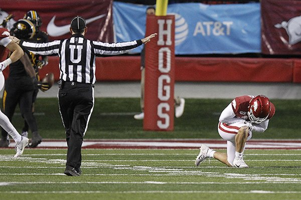 Arkansas quarterback Ben Hicks (6) reacts after a fourth down incompletion on the Razorbacks final drive during the fourth quarter of the Razorbacks' 24-14 loss to Missouri on Friday, Nov. 29, 2019, at War Memorial Stadium in Little Rock.