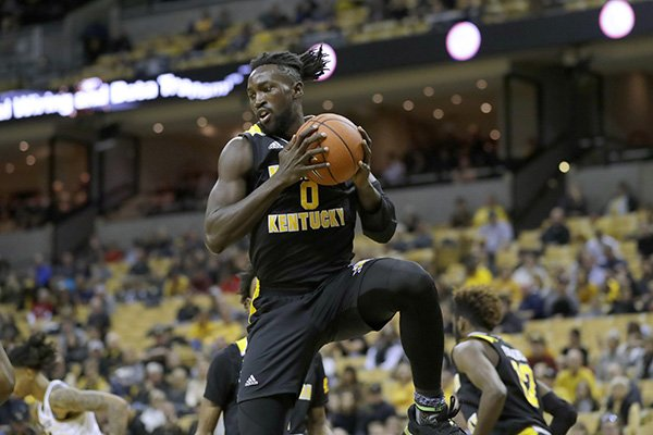 Northern Kentucky's Silas Adheke grabs a rebound during the second half of an NCAA college basketball game against Missouri Friday, Nov. 8, 2019, in Columbia, Mo. Missouri won 71-56. (AP Photo/Jeff Roberson)