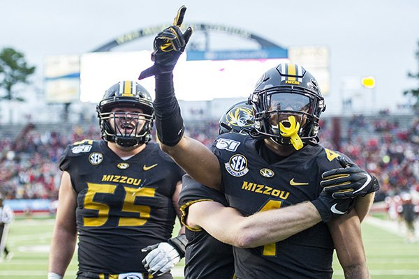 Missouri receiver Jonathan Nance celebrates after scoring a touchdown during the fourth quarter of a game against Arkansas on Friday, Nov. 29, 2019, in Little Rock.
