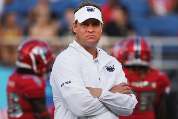 Florida Atlantic coach Lane Kiffin looks over his team before an NCAA college football game against UCF on Saturday, Sept. 7, 2019, in Boca Raton, Fla. (AP Photo/Jim Rassol)