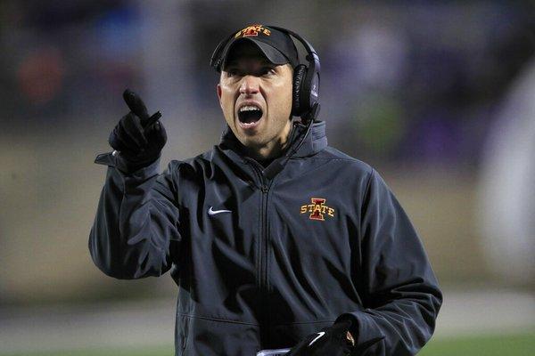 Iowa State head coach Matt Campbell calls a timeout during the first half of an NCAA college football game against Kansas State in Manhattan, Kan., Saturday, Nov. 30, 2019.