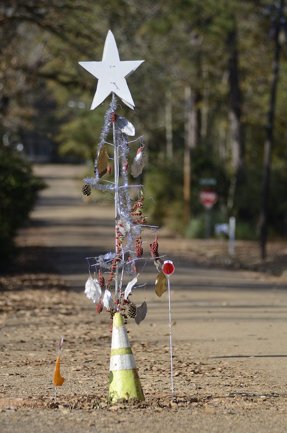 In this Nov. 29, 2019 photo, a decorated road cone stands at a pothole in the Edgewood neighborhood of McComb, Miss. Residents of the Mississippi city are protesting the large pothole in their neighborhood by decorating it with holiday cheer. (Matt Williamson/The Enterprise-Journal via AP)
