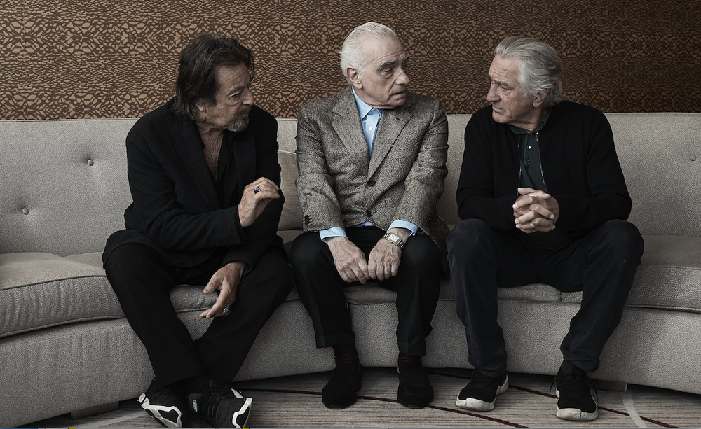 "Al Pacino (from left), director Martin Scorsese and Robert De Niro pose for a portrait to promote their film ""The Irishman."" (AP)"