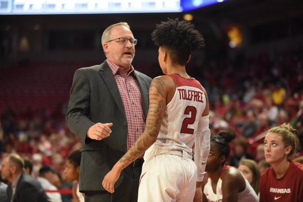 University of Arkansas Women's basketball coach Mike Neighbors is seen here with senior guard Alexis Tolefree during the Razorbacks first game of the season against New Orleans. The Razorbacks will play Kansas State in the Big12/SEC Challenge on Saturday.