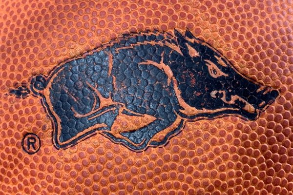 An Arkansas Razorbacks logo is shown on a basketball in this undated photo.