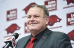 Arkansas football coach Sam Pittman is shown at his introductory press conference Monday, Dec. 9, 2019, in Fayetteville.