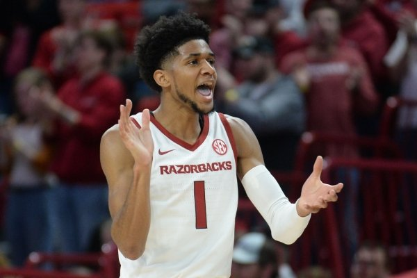 Arkansas guard Isaiah Joe celebrates during the first half of the Razorbacks' game against Austin Peay in Bud Walton Arena.