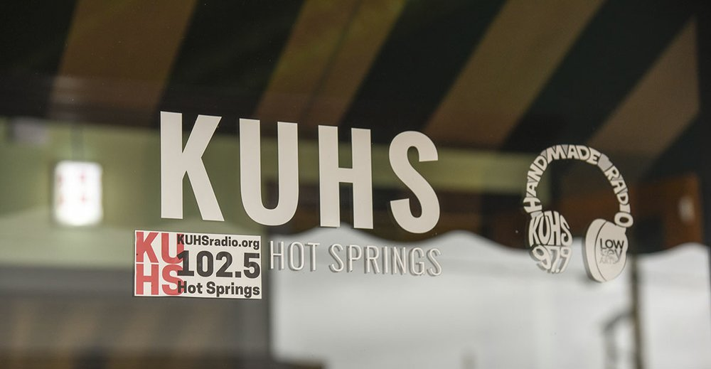 The door of the KUHS Community Radio Station is shown. - Photo by Grace Brown of the Sentinel-Record.