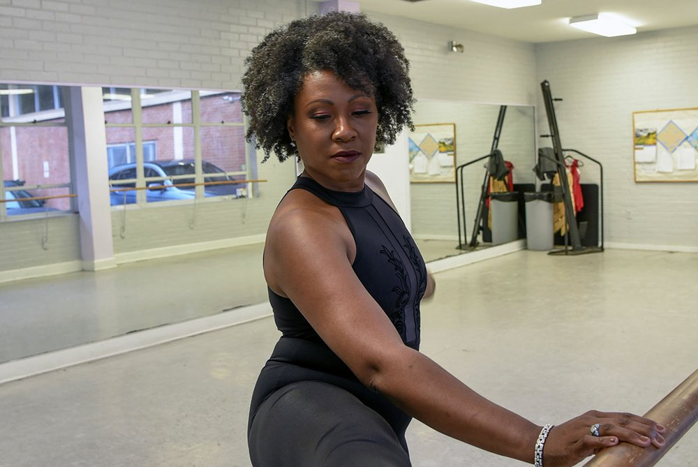 Sonja Littlejohn Barlow warms-up before a private dance lesson at the Quapaw Community Center. - Photo by Grace Brown of the Sentinel-Record.