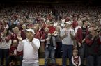 Fans are shown during a game between Arkansas and Indiana on Saturday, March 23, 2019, at Assembly Hall in Bloomington, Ind.