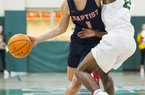 Baptist Prep's Hudson Likens (left) tries to dribble past Chris Smith of Episcopal Collegiate during Friday night's game in Little Rock. See more photos at arkansasonline.com/1221methoepisc.