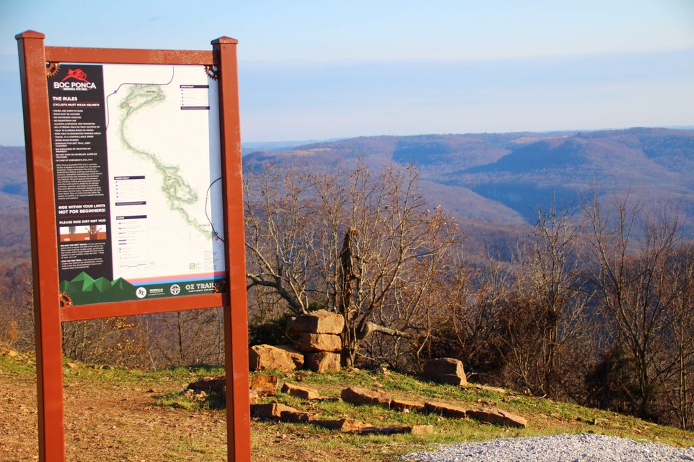 The view from the top of the BOD Trail System includes a sign with some serious warnings. (Special to the Democrat-Gazette/Bob Robinson)