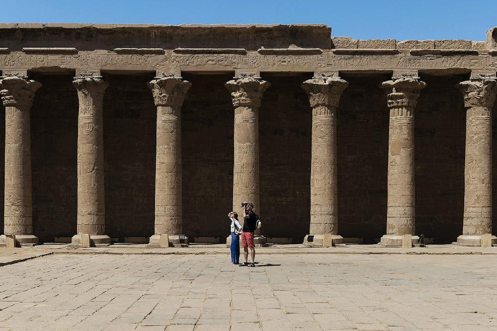 The Temple of Edfu, one of Egypt's best-preserved temples, was on the itineraries of some 19th-century travelers, in Egypt, on Sept. 27, 2019. In the late 1800s, women explorers sailed the Nile, sending back vivid accounts of Egypt's riches and a 21st-century writer travels in their wake. (Maria Mavropoulou/The New York Times)