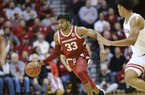 Jimmy Whitt Jr. drives handles the basketball during the Razorbacks 71-64 victory over Indiana. Whitt met with the media on Thursday to preview the Razorbacks conference opener against Texas A&M.