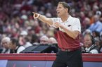 Arkansas coach Eric Musselman reacts to a call during a game against Texas A&M on Saturday, Jan. 4, 2020, in Fayetteville.
