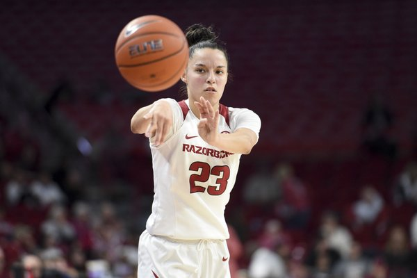 Arkansas guard Amber Ramirez (23) passes, Sunday, December 29, 2019 during a basketball game at Bud Walton Arena in Fayetteville. Ramirez had 25 points en route to the Razorbacks 86-70 victory over the Auburn Tigers.