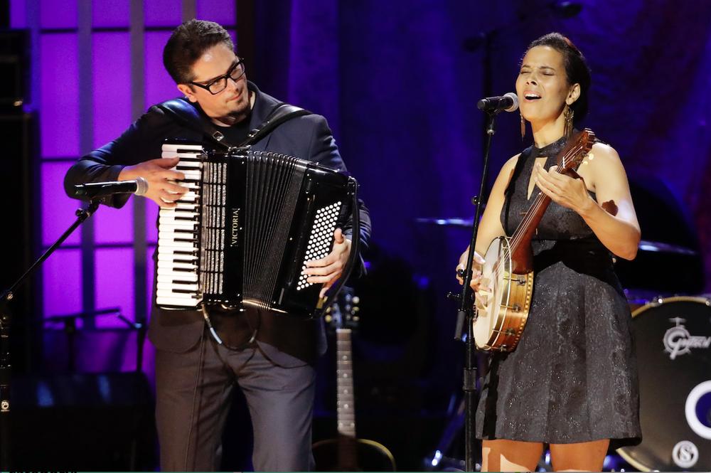 Francesco Turris and Rhiannon Giddens performed at the Americana Honors & Awards show Sept. 11 in Nashville, Tenn.  (AP)