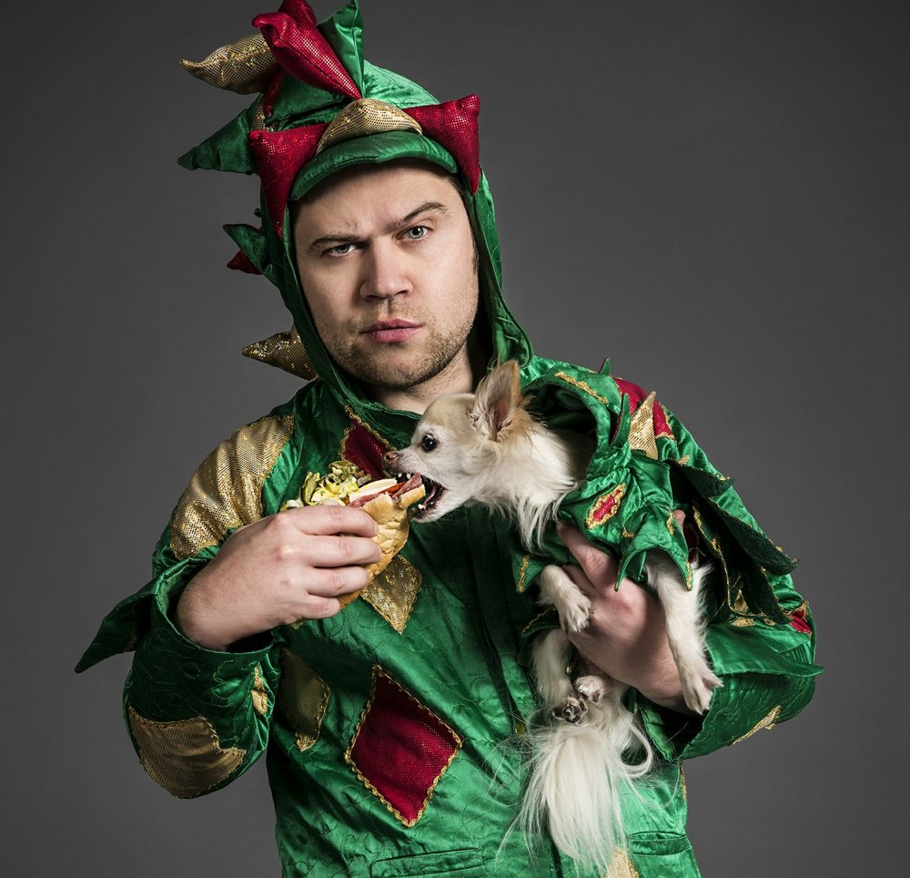 Piff the Magic Dragon brings his comedy magic show -- and Mr. Piffles, the World's Only Magic Performing Chihuahua -- today to Fayetteville's Walton Arts Center. (Special to the Democrat-Gazette)