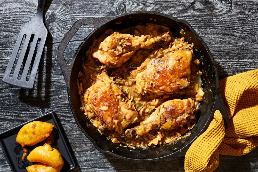 Chicken With White Wine, Roasted Lemons and Capers  (For The Washington Post/Stacy Zarin Goldberg)