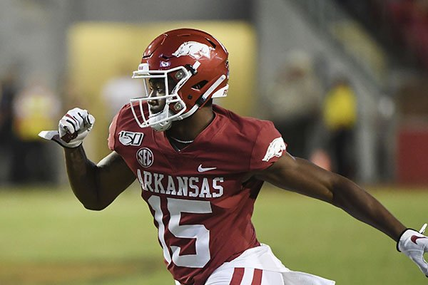 Arkansas receiver T.Q. Jackson runs a play during an NCAA football game on Saturday, Sept. 21, 2019 in Fayetteville. (AP Photo/Michael Woods)