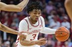 Desi Sills dribbles toward the basket in Arkansas' game against Texas A&M on Saturday, Jan. 4, 2020, at Bud Walton Arena in Fayetteville.