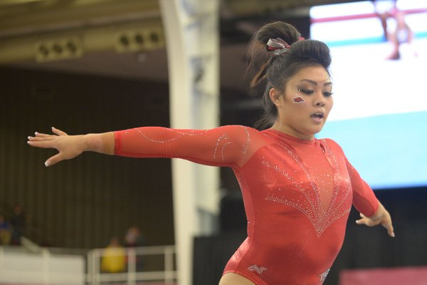 Arkansas' Jessica Yamzon competes in the floor Saturday, Jan. 5, 2019, during the Razorbacks' meet with No. 2 Oklahoma in Barnhill Arena in Fayetteville. The Razorbacks will have their first meet at home on Friday against Denver.