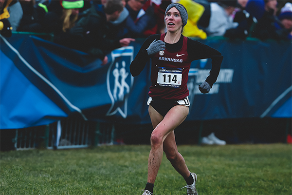 Arkansas runner Katie Izzo approaches the finish line during the NCAA Cross Country Championships on Saturday, Nov. 23, 2019, in Terre Haute, Ind.