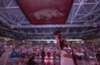 The crowd is shown prior to a game between Arkansas and Kentucky on Saturday, Jan. 18, 2020, at Bud Walton Arena in Fayetteville.