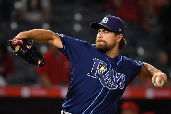 Tampa Bay Rays relief pitcher Jalen Beeks throws during the ninth inning of the team's baseball game against the Los Angeles Angels on Friday, Sept. 13, 2019, in Anaheim, Calif. (AP Photo/Mark J. Terrill)