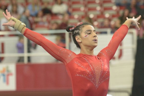 Arkansas' Sophia Carter competes in the floor Saturday, Jan. 5, 2019, during the Razorbacks' meet with No. 2 Oklahoma in Barnhill Arena in Fayetteville.