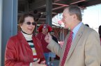Marilyn Bogle (left) is shown with then-University of Arkansas athletics director Jeff Long during a ceremony to commemorate the opening of Bogle Park on Friday, April 11, 2009, in Fayetteville. Bogle, a longtime benefactor of Razorback athletics, died Thursday, Jan. 23, 2020, at the age of 88.