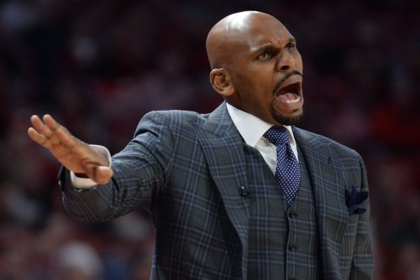 Vanderbilt coach Jerry Stackhouse directs his team Wednesday, Jan. 15, 2020, during the first half against Arkansas in Bud Walton Arena.