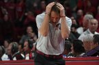 Arkansas coach Eric Musselman reacts to a call during a game against South Carolina on Wednesday, Jan. 29, 2020, in Fayetteville.
