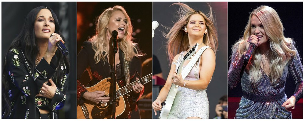 "Country singers (from left) Kacey Musgraves, performing at the Austin City Limits Music Festival in Austin, Texas, Oct. 6, 2019; Miranda Lambert performing at the 53rd annual Academy of Country Music Awards in Las Vegas in 2018; Maren Morris performing at the Bonnaroo Music and Arts Festival in Manchester, Tenn., last year; and Carrie Underwood performing during her ""Cry Pretty Tour 360"" in Chicago on Oct. 29. (The Associated Press)"