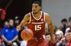 Arkansas guard Mason Jones (15) in action during an NCAA college basketball game between Arkansas and Indiana in Bloomington, Ind., Sunday, Dec. 29, 2019. (AP Photo/AJ Mast)
