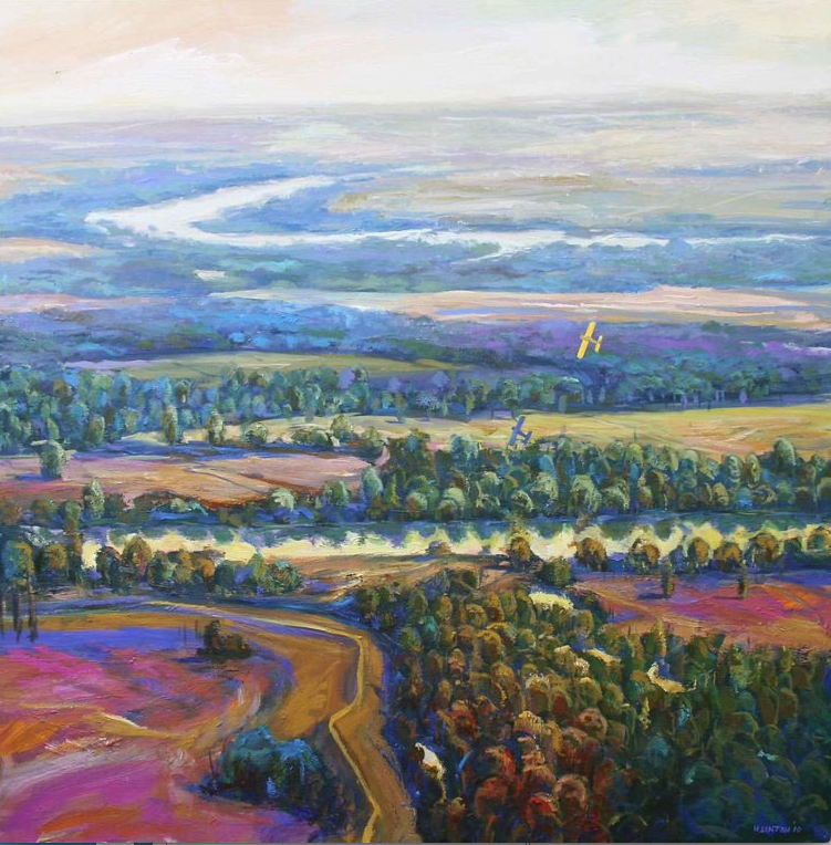 """""""Summertime Over the Delta"""" by Henri Linton. Linton became known for his vibrant landscapes featuring the Arkansas Delta from above.  (Courtesy Henri Linton)"""