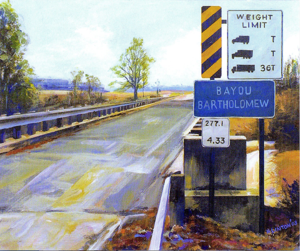"""Empty Arkansas roads, like this one in """"Bayou Bartholomew,"""" are a frequent subject in Henri Linton's paintings.  (Courtesy Henri Linton)"""