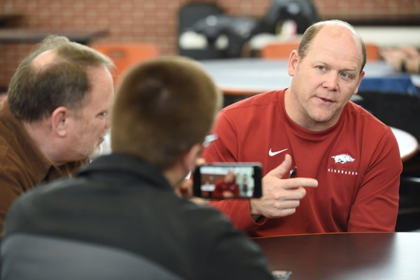 Arkansas defensive coordinator Barry Odom is shown during an interview Thursday, Feb. 6, 2020, in Fayetteville.