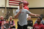 Joe T. Robinson linebacker JT Towers addresses the crowd before signing his national letter of intent to play for Arkansas on Wednesday, Feb. 5, 2020, at Robinson High School in Little Rock.