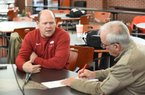 Barry Odom,  an assistant coach with the University of Arkansas football team, speaks with members of the media Thursday, February 6, 2020, inside the Fred W. Smith Football Center on the campus in Fayetteville. Ten football assistants participated in the interview process. Check out nwaonline.com/200207Daily/ and nwadg.com/photos for a photo gallery. (NWA Democrat-Gazette/David Gottschalk)