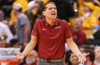 Arkansas head coach Eric Musselman questions a call during the second half of an NCAA college basketball game against Missouri Saturday, Feb. 8, 2020, in Columbia, Mo. Missouri beat Arkansas 83-79 in overtime. (AP Photo/L.G. Patterson)