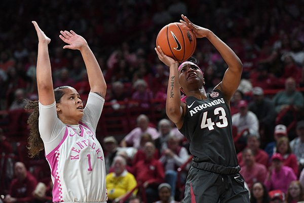 Arkansas' Makayla Daniels (43) takes a shot in front of Kentucky's Sabrina Haines during a game Sunday, Feb. 9, 2020, at Bud Walton Arena in Fayetteville. Arkansas won 103-85.