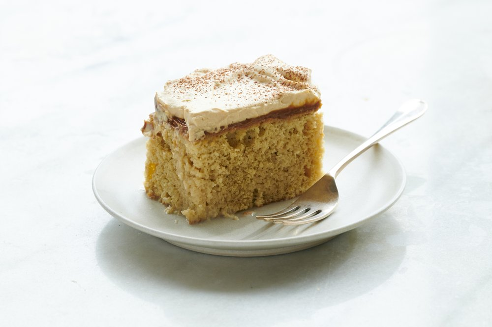 Seis leches cake, a dense, puddinglike cake flavored with cinnamon and rum. (The New York Times/David Malosh)