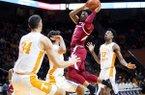 Arkansas guard Desi Sills (3) attempts a shot during an NCAA college basketball game against Tennessee, Tuesday, Feb. 11, 2020 in Knoxville, Tenn. (Brianna Paciorka/Knoxville News Sentinel via AP)