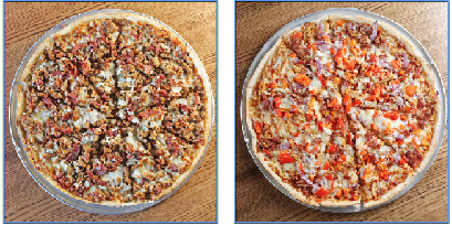 Shotgun Dan's Pizza has added two new pizzas: the Stampede (left), topped with beef, sausage, bacon, Italian sausage, pepperoni and Canadian bacon, and the Red Rooster (right), topped with chicken, bacon, purple onion and red bell pepper.  (Special to the Democrat-Gazette)