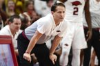 Arkansas coach Eric Musselman reacts after a call against Kentucky during the second half of an NCAA college basketball game, Saturday, Jan. 18, 2020, in Fayetteville, Arkansas. (AP Photo/Michael Woods)