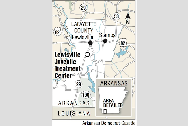 A map showing the location of the Lewisville Juvenile Treatment Center.