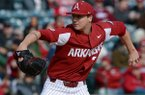 Arkansas starter Patrick Wicklander delivers to the plate Saturday, Feb. 15, 2020, against Eastern Illinois during the second inning at Baum-Walker Stadium in Fayetteville.