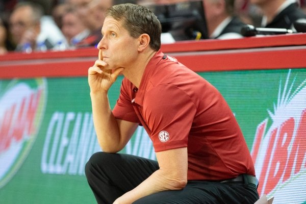 Arkansas coach Eric Musselman looks toward the playing floor in the Razorbacks' game against Mississippi State at Bud Walton Arena in Fayetteville on February 15, 2020.