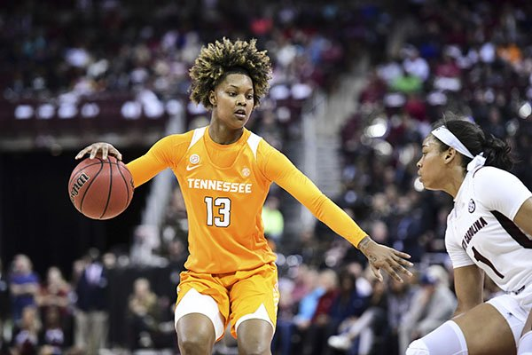 Tennessee guard Jazmine Massengill (13) dribbles against South Carolina guard Zia Cooke (1) during the first half of an NCAA college basketball game Sunday, Feb. 2, 2020, in Columbia, S.C. South Carolina defeated Tennessee 69-48. (AP Photo/Sean Rayford)